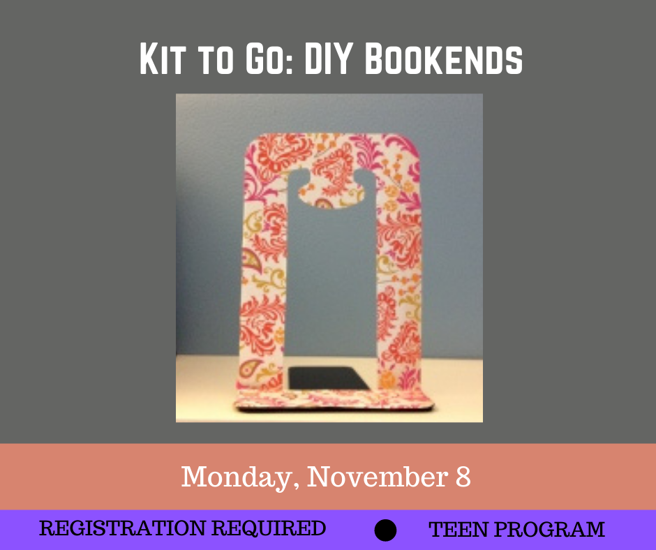 Marketing for DIY Bookends featuring a picture of a pink floral bookend on a grey with the text
