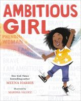 Cover of Ambitious Girl by Meena Harris, with a girl jumping excitedly and the book title