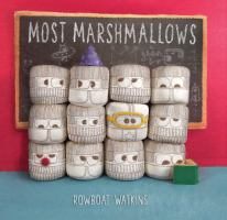 Book cover of Most Marshmallows by Rowboat Watkins depicting 12 marshmellows standing four in a row and stacked three high with cloths and face drawn on them with different expressions