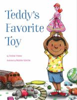 Book cover of Teddy's Favorite Toy by Christian Zimmer depicting a young boy holding up a pink doll while standing amid a mess of other toys