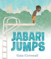 book cover of Jabari Jumps by Gaia Cornwall depicting a boy in an orange swimsuit looking over the edge of a diving board